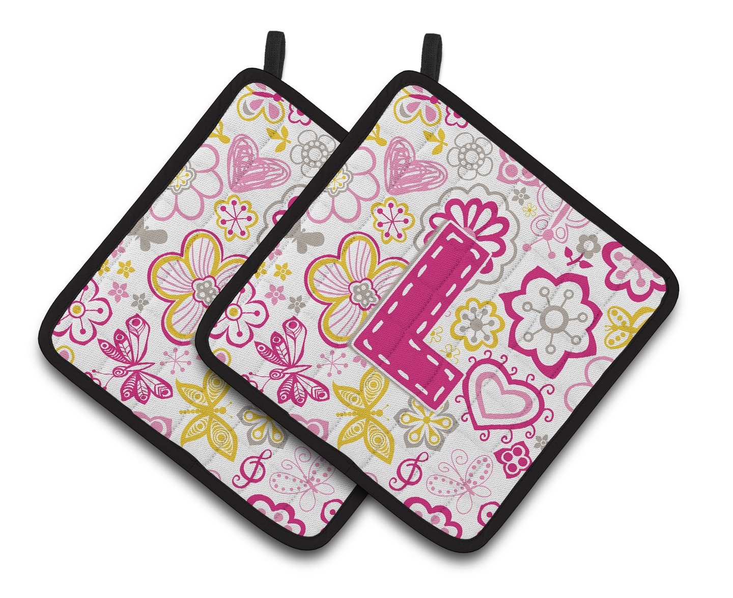 Letter L Flowers and Butterflies Pink Pair of Pot Holders by Caroline's Treasures