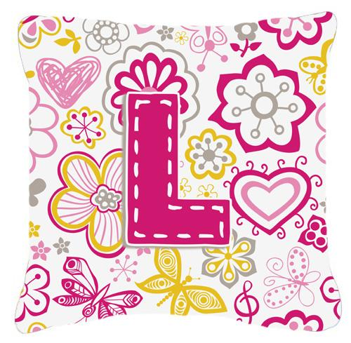 Letter L Flowers and Butterflies Pink Canvas Fabric Decorative Pillow by Caroline's Treasures