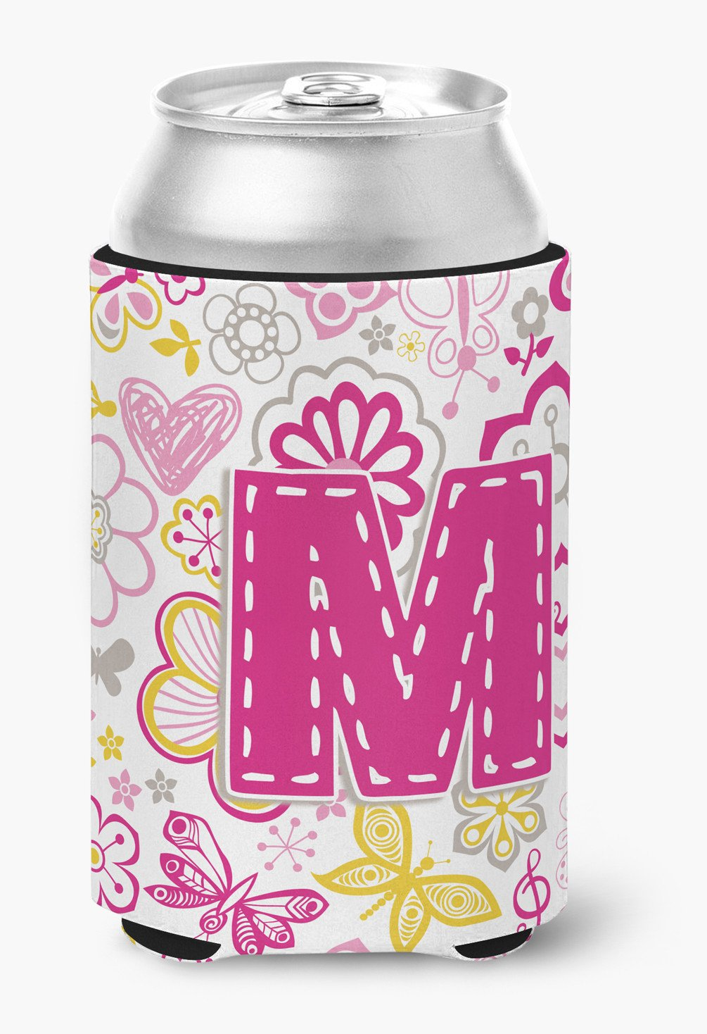 Letter M Flowers and Butterflies Pink Can or Bottle Hugger CJ2005-MCC by Caroline's Treasures