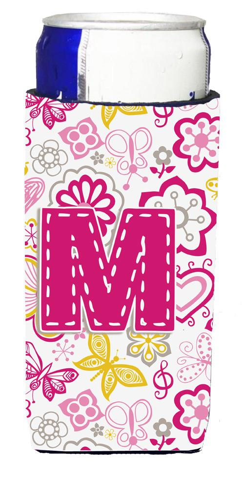 Letter M Flowers and Butterflies Pink Ultra Beverage Insulators for slim cans CJ2005-MMUK by Caroline's Treasures