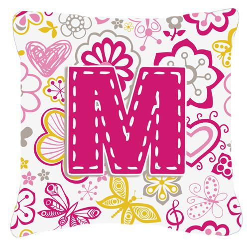 Letter M Flowers and Butterflies Pink Canvas Fabric Decorative Pillow by Caroline's Treasures