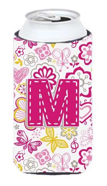 Letter M Flowers and Butterflies Pink Tall Boy Beverage Insulator Hugger CJ2005-MTBC by Caroline's Treasures