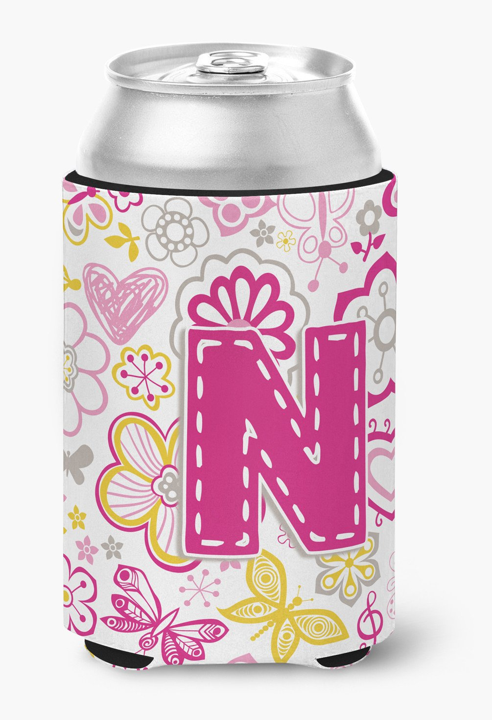 Letter N Flowers and Butterflies Pink Can or Bottle Hugger CJ2005-NCC by Caroline's Treasures