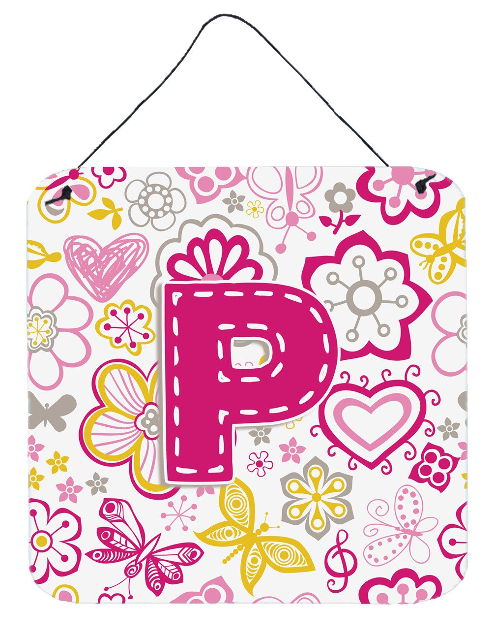Letter P Flowers and Butterflies Pink Wall or Door Hanging Prints CJ2005-PDS66 by Caroline's Treasures