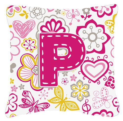 Buy this Letter P Flowers and Butterflies Pink Canvas Fabric Decorative Pillow