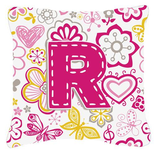 Buy this Letter R Flowers and Butterflies Pink Canvas Fabric Decorative Pillow
