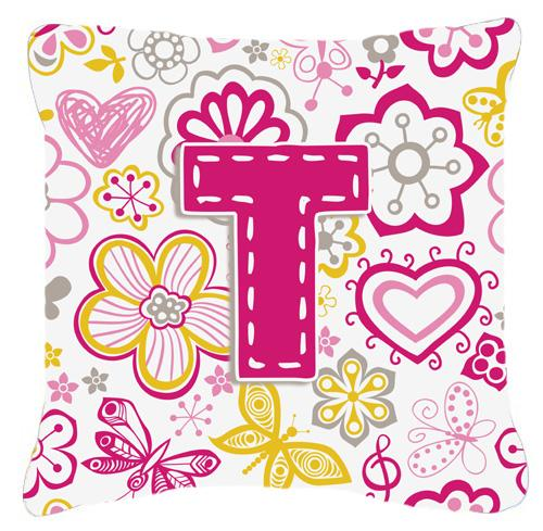 Letter T Flowers and Butterflies Pink Canvas Fabric Decorative Pillow by Caroline's Treasures