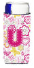Letter U Flowers and Butterflies Pink Ultra Beverage Insulators for slim cans CJ2005-UMUK by Caroline's Treasures