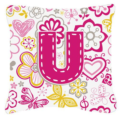 Buy this Letter U Flowers and Butterflies Pink Canvas Fabric Decorative Pillow