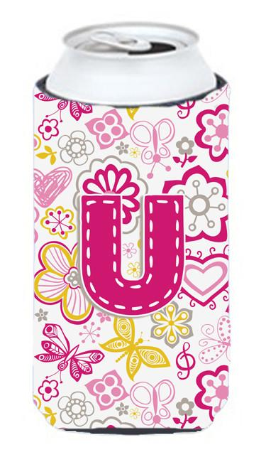 Buy this Letter U Flowers and Butterflies Pink Tall Boy Beverage Insulator Hugger CJ2005-UTBC