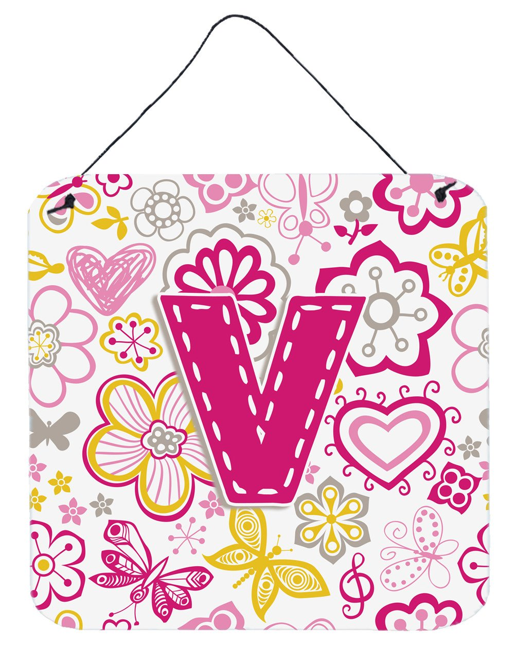 Letter V Flowers and Butterflies Pink Wall or Door Hanging Prints CJ2005-VDS66 by Caroline's Treasures