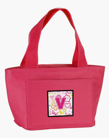 Buy this Letter V Flowers and Butterflies Pink Lunch Bag CJ2005-VPK-8808