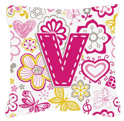 Buy this Letter V Flowers and Butterflies Pink Canvas Fabric Decorative Pillow