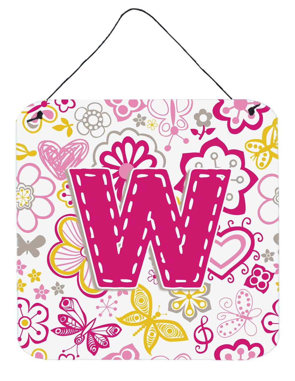 Letter W Flowers and Butterflies Pink Wall or Door Hanging Prints CJ2005-WDS66 by Caroline's Treasures