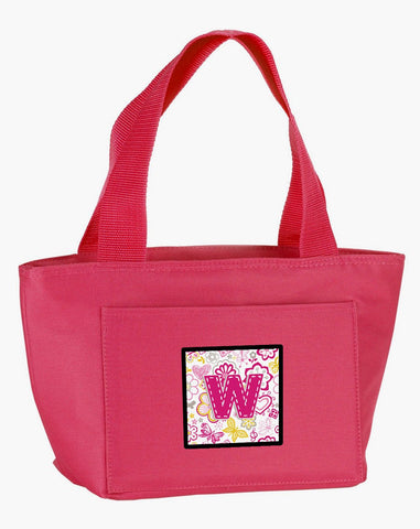Buy this Letter W Flowers and Butterflies Pink Lunch Bag CJ2005-WPK-8808