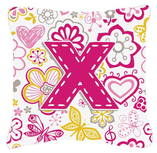 Buy this Letter X Flowers and Butterflies Pink Canvas Fabric Decorative Pillow