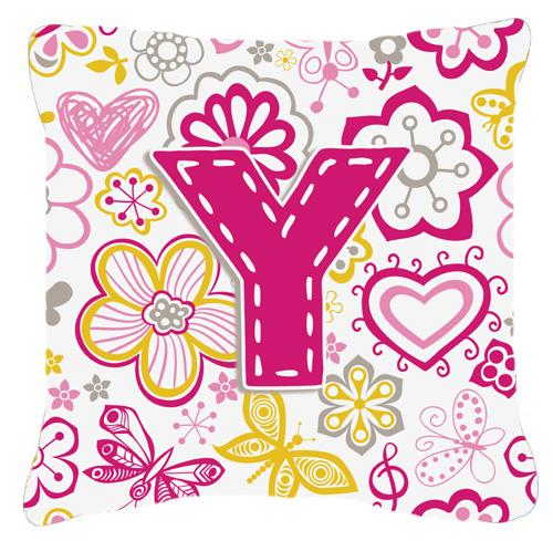 Buy this Letter Y Flowers and Butterflies Pink Canvas Fabric Decorative Pillow