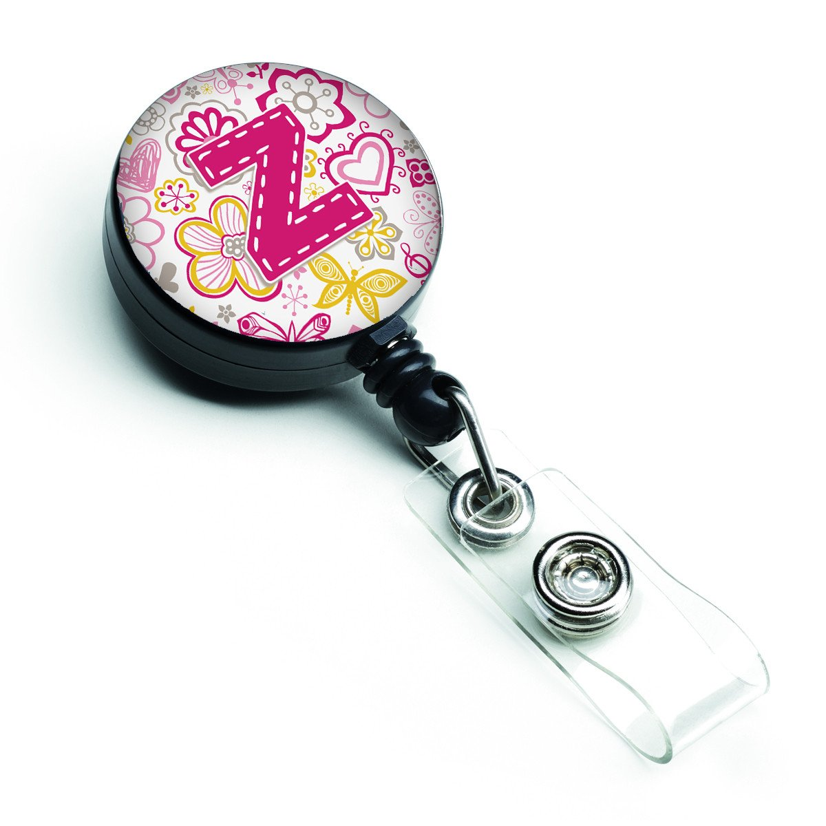 Letter Z Flowers and Butterflies Pink Retractable Badge Reel CJ2005-ZBR by Caroline's Treasures