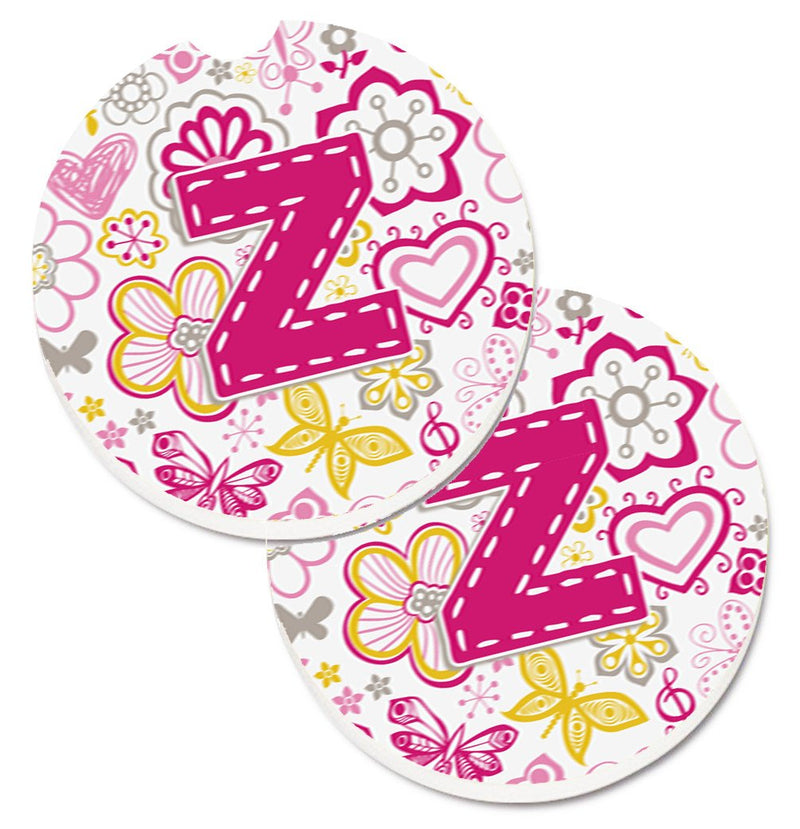 Buy this Letter Z Flowers and Butterflies Pink Set of 2 Cup Holder Car Coasters CJ2005-ZCARC