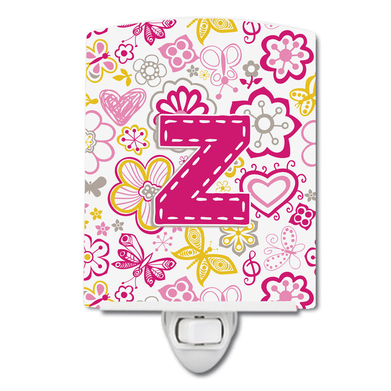 Buy this Letter Z Flowers and Butterflies Pink Ceramic Night Light CJ2005-ZCNL