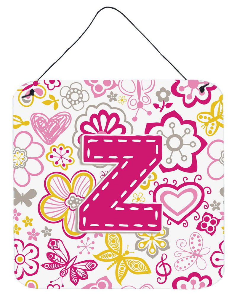 Buy this Letter Z Flowers and Butterflies Pink Wall or Door Hanging Prints CJ2005-ZDS66