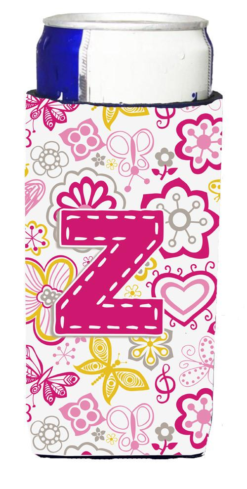 Buy this Letter Z Flowers and Butterflies Pink Ultra Beverage Insulators for slim cans CJ2005-ZMUK