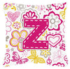 Letter Z Flowers and Butterflies Pink Canvas Fabric Decorative Pillow by Caroline's Treasures
