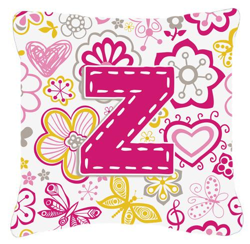 Buy this Letter Z Flowers and Butterflies Pink Canvas Fabric Decorative Pillow