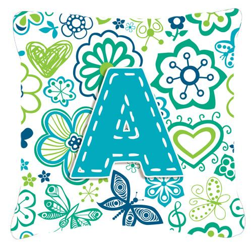 Buy this Letter A Flowers and Butterflies Teal Blue Canvas Fabric Decorative Pillow