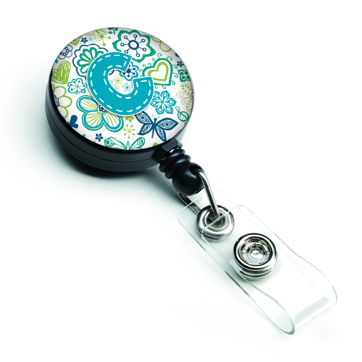 Letter C Flowers and Butterflies Teal Blue Retractable Badge Reel CJ2006-CBR by Caroline's Treasures