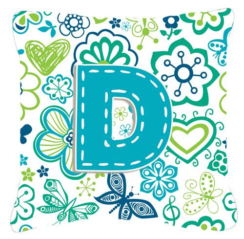 Letter D Flowers and Butterflies Teal Blue Canvas Fabric Decorative Pillow by Caroline's Treasures