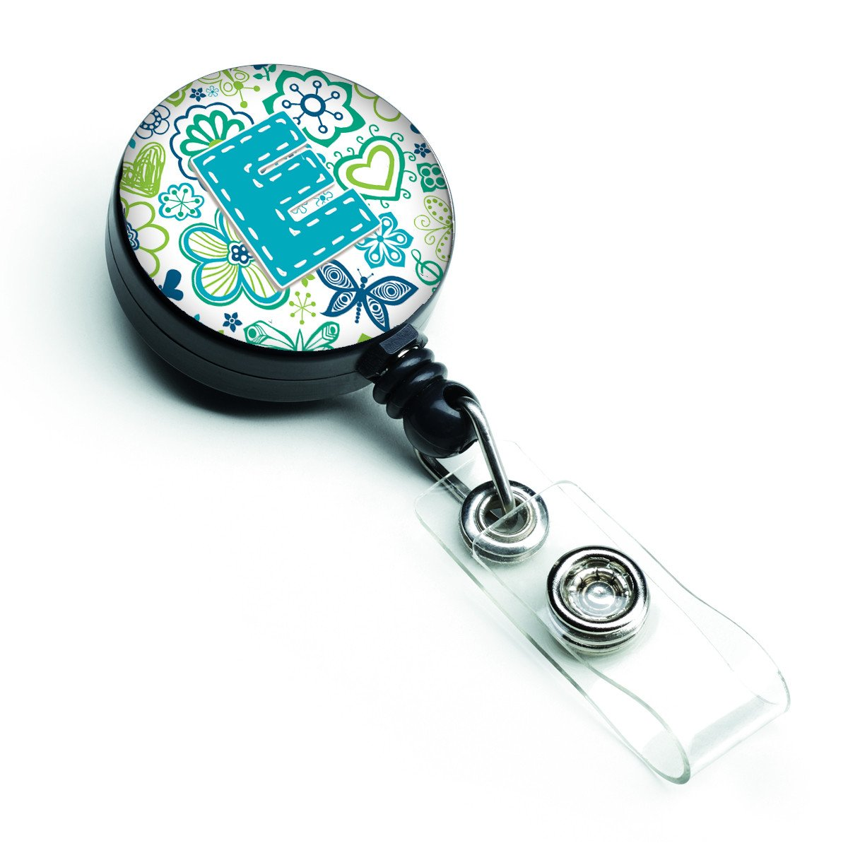 Letter E Flowers and Butterflies Teal Blue Retractable Badge Reel CJ2006-EBR by Caroline's Treasures