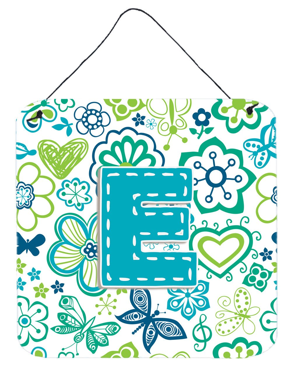 Letter E Flowers and Butterflies Teal Blue Wall or Door Hanging Prints CJ2006-EDS66 by Caroline's Treasures