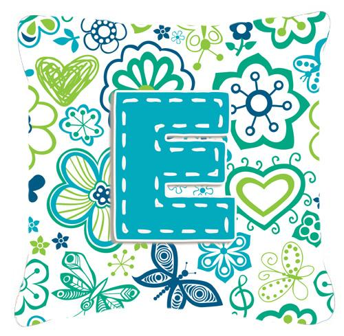 Buy this Letter E Flowers and Butterflies Teal Blue Canvas Fabric Decorative Pillow