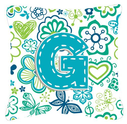Buy this Letter G Flowers and Butterflies Teal Blue Canvas Fabric Decorative Pillow