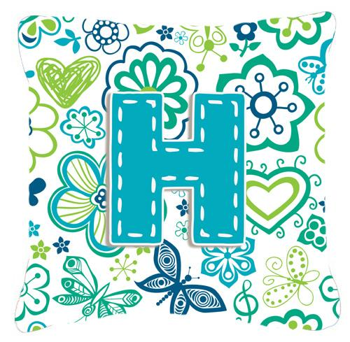 Letter H Flowers and Butterflies Teal Blue Canvas Fabric Decorative Pillow by Caroline's Treasures