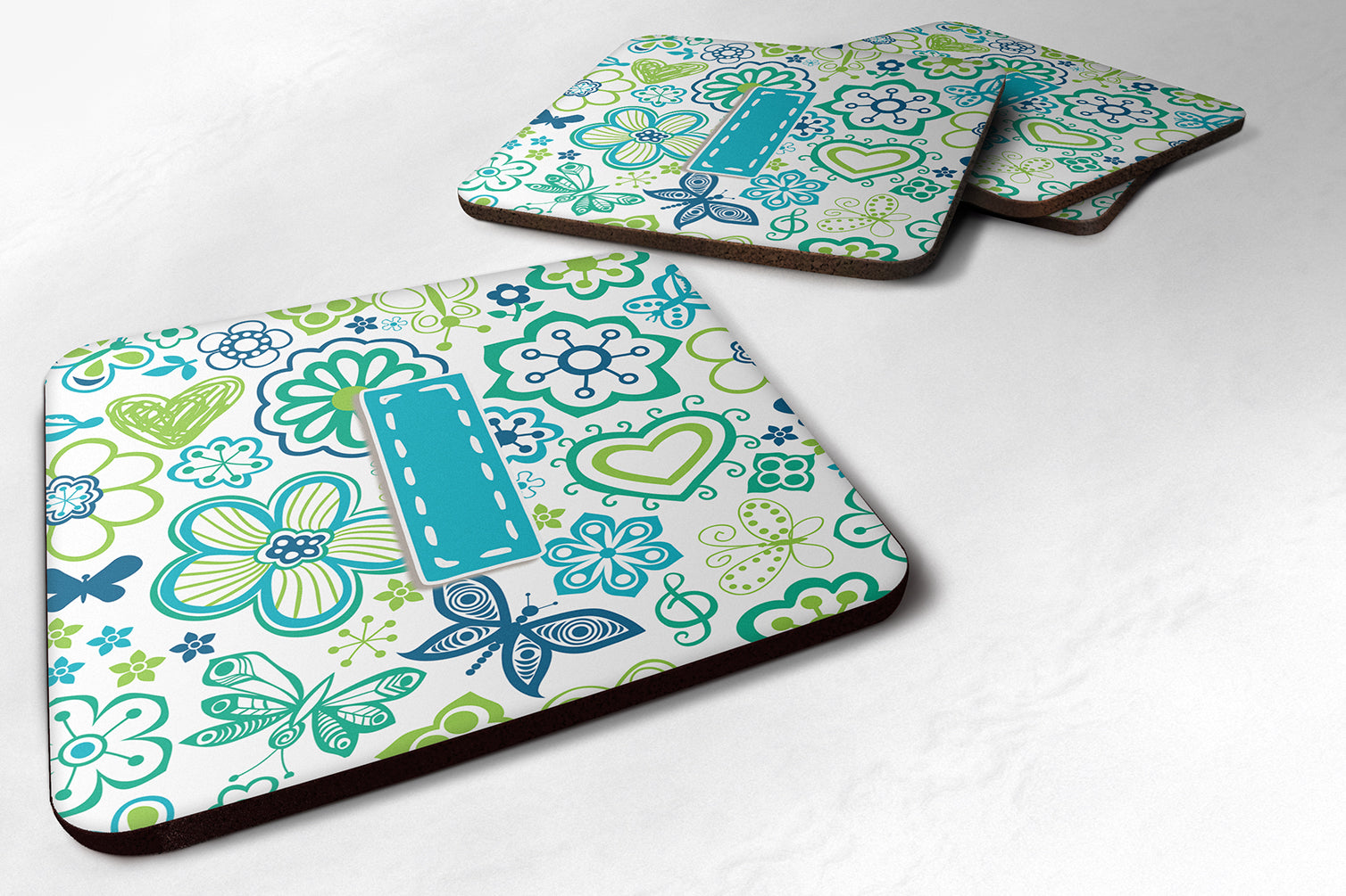 Set of 4 Letter I Flowers and Butterflies Teal Blue Foam Coasters CJ2006-IFC by Caroline's Treasures
