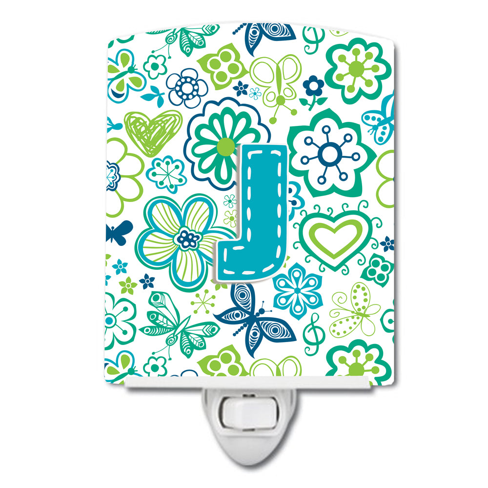 Letter J Flowers and Butterflies Teal Blue Ceramic Night Light CJ2006-JCNL by Caroline's Treasures