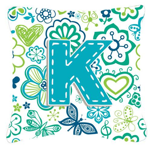 Buy this Letter K Flowers and Butterflies Teal Blue Canvas Fabric Decorative Pillow
