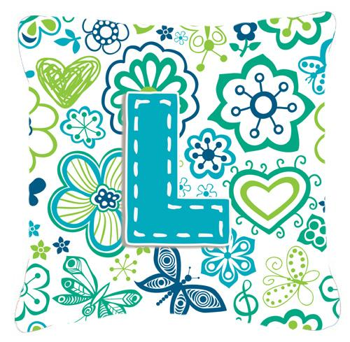 Letter L Flowers and Butterflies Teal Blue Canvas Fabric Decorative Pillow by Caroline's Treasures