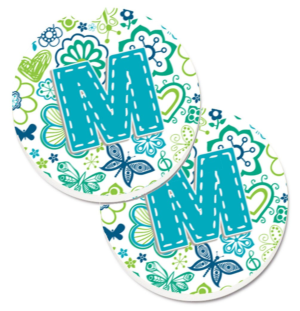 Letter M Flowers and Butterflies Teal Blue Set of 2 Cup Holder Car Coasters CJ2006-MCARC by Caroline's Treasures