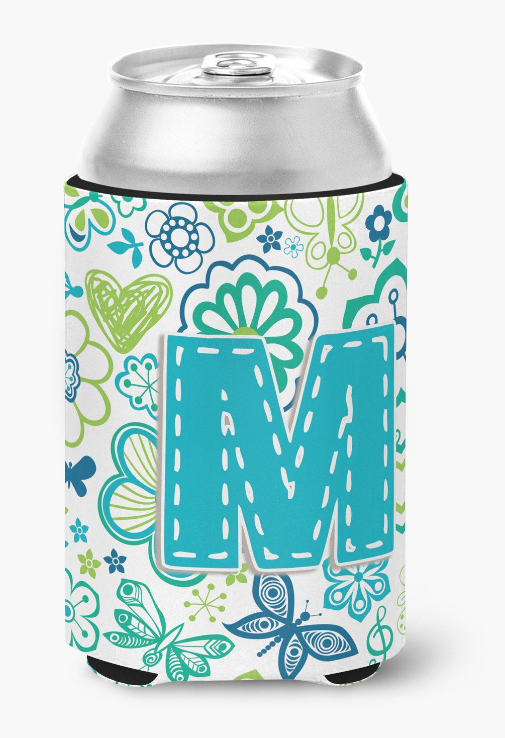 Letter M Flowers and Butterflies Teal Blue Can or Bottle Hugger CJ2006-MCC by Caroline's Treasures