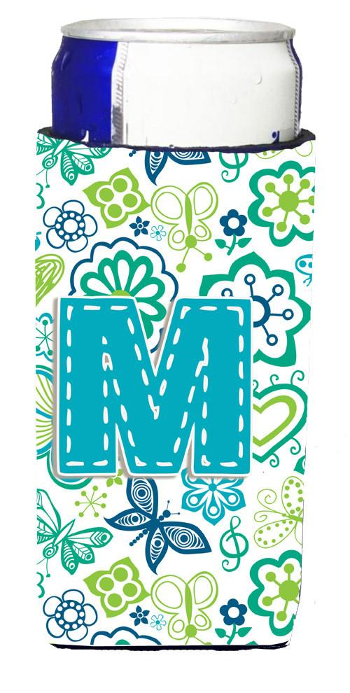 Letter M Flowers and Butterflies Teal Blue Ultra Beverage Insulators for slim cans CJ2006-MMUK by Caroline's Treasures