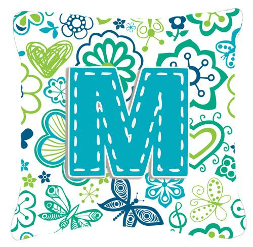 Letter M Flowers and Butterflies Teal Blue Canvas Fabric Decorative Pillow by Caroline's Treasures
