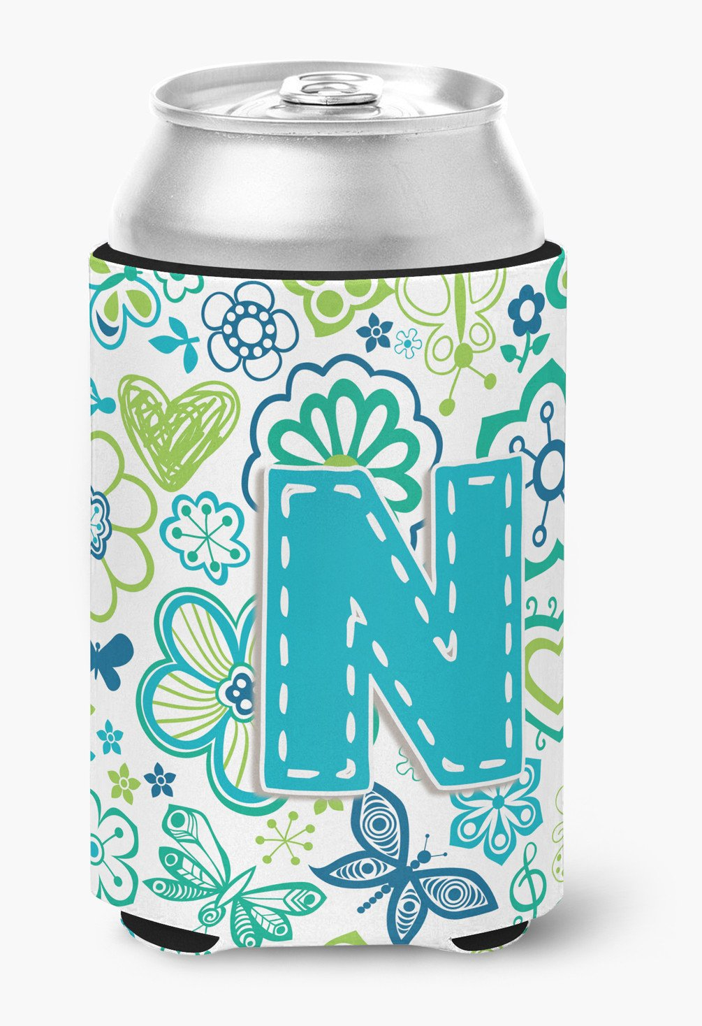 Letter N Flowers and Butterflies Teal Blue Can or Bottle Hugger CJ2006-NCC by Caroline's Treasures