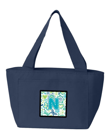 Buy this Letter N Flowers and Butterflies Teal Blue Lunch Bag CJ2006-NNA-8808