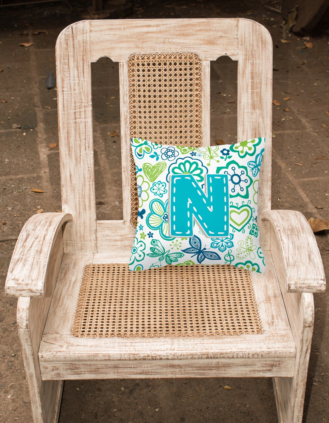 Letter N Flowers and Butterflies Teal Blue Canvas Fabric Decorative Pillow CJ2006-NPW1414 by Caroline's Treasures