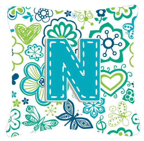 Letter N Flowers and Butterflies Teal Blue Canvas Fabric Decorative Pillow by Caroline's Treasures