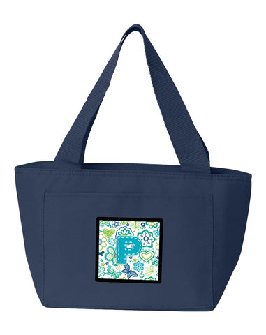 Buy this Letter P Flowers and Butterflies Teal Blue Lunch Bag CJ2006-PNA-8808