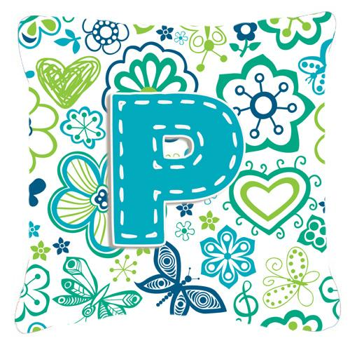 Buy this Letter P Flowers and Butterflies Teal Blue Canvas Fabric Decorative Pillow